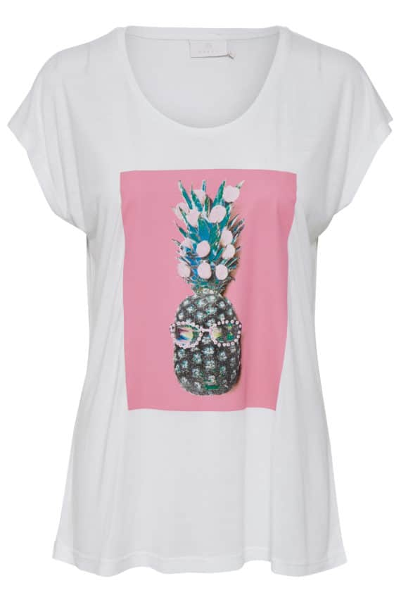 kaffe pineapple t-shirt roze